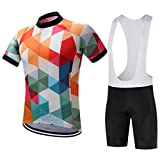 G WELL Herren Bunt Fahrradbekleidung Set Große Größen Trikot Kurzarm + Trägerhose mit Sitzpolster Art-B Größe M