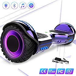 Mega Motion 6.5Pulgadas Monopatín Eléctrico E-Star 2018 Scooter eléctrico Self-Balance - con RGB LED en Las Ruedas- Altavoz Bluetooth - 700W Motor - Modelo Gyropod