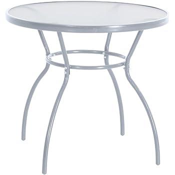 greemotion Table de jardin ronde Prag – Table ronde diamètre 80 cm – Table  verre et 47453d045708