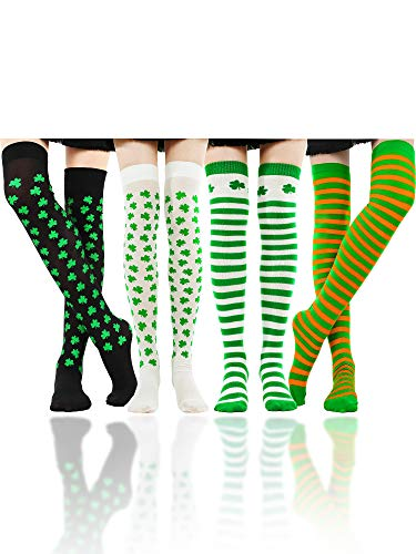Boao Über Knie Socken Gestreifte Strümpfe Oberschenkel Hohe Socken für St. Patrick's Tag Party Vorräte, 4 Paare Total (Farbe Set 2)