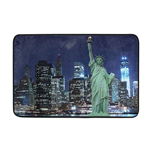 JSTEL Statue of Liberty New York City-Fußmatte waschbar Garten Büro Fußmatte, Küche ESS-Living Badezimmer Pet Eintrag Teppiche mit Rutschfeste Unterseite 59,9x 39,9cm