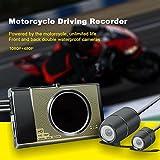 Dashcam Motorrad Dash Camera Video Recorder mit Full HD 1080P Vordere und 720P Hintere Dual Kameras, 3 Zoll RGB, WDR, Bewegungserkennung, Parkmonitor, G-sensor und Loop-Aufnahme
