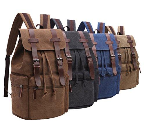 Super moderno Casual in tela e pelle zaino Bookbag Satchel escursionismo borsa Laptop, Uomo, Black Blue