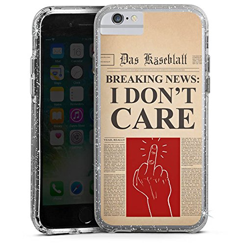 Apple iPhone 6s Plus Bumper Hülle Bumper Case Glitzer Hülle News Saying Phrase Bumper Case Glitzer silber