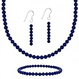 "Sterling Silver 4mm Genuine Lapis Stone Bead Beaded Dangle Hook Earrings Stretch Bracelet Necklace 15-19"" Jewelry Set"