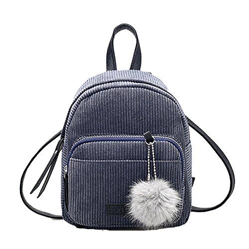 Ularma Damen Cord Mini Täglicher Rucksack Weiche Schultertasche mit Süß Plüsch Schlüsselanhänger (Grau) (Cord Khaki)