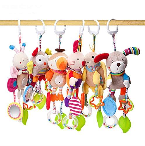 TYUE Landau Jouets Poussette Berceau bébé Jouets hochet Cloche avec Teether, Animal Doux 6 Packs activité Jouets Suspendus pour bébé Enfant en Bas âge Cadeau de Douche