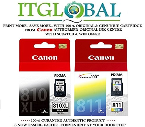 Canon Combo Ink Cartridge Black & Color ( PG 810 XL& CL 811 ) [Set of 2 Cartridge] -Special ITGLOBAL Combo With Scratch & Win Offer 810xl 811  available at amazon for Rs.3703