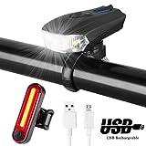 MACHFALLY Fahrradbeleuchtung, Fahrrad Licht LED USB Set mit Automatisch Einstellbarer Helligkeit, Wasserdichte Fahrradlampen inkl. Frontlicht und Ruecklicht , 1200 mAh Akku-Fahrradlampen fuer Kinder- , Herren- und Damenraeder (Frontlicht&Ruecklicht Set)