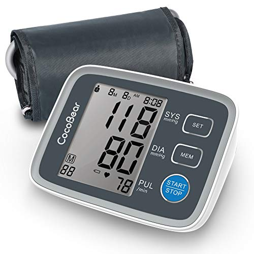 Misuratore di Pressione Sanguigna, Monitor di Pressione automatico del Braccio Superiore CocoBear Digitale con Monitoraggio dell'Aritmia 2 * 90 Misurazioni della Memoria, Approvazione FDA CE RoHS
