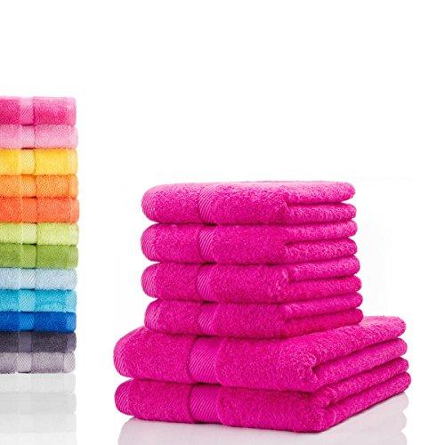 Etérea Carli 6 tlg. Handtuchset, 4x Handtücher, 2x Duschtücher - Pink|Qualitäts Frottierware 500 g/m² 100% Baumwolle