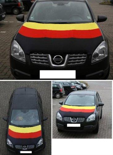 Flaggenabdeckhaube 80 x 110 cm Deutschland Fahne für die Motorhaube (Befestigt Motorhaube)