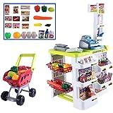 deAO Toys SPM-W - Puesto de Mercado con Carrito de la Compra, Scanner, Accesorios Incluidos