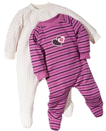 Baby Butt Schlafanzug 2er-Pack mit Druckmotiv Herz und Sterne Interlock-Jersey fuchsia Größe 86 / 92