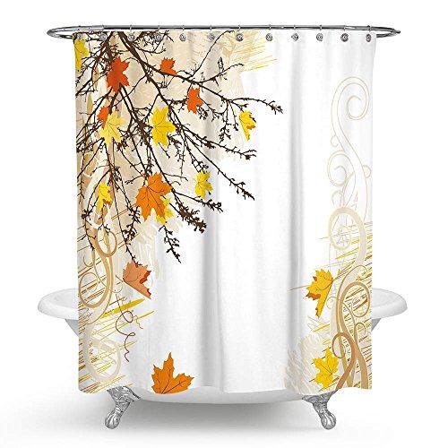 KISY Art Ahorn Baum Ast Wasserdicht Bad Duschvorhang Retro Herbst Ahorn Blätter Laub Badezimmer Dusche Vorhang Standard Größe 177,8x 177,8cm gelb braun -