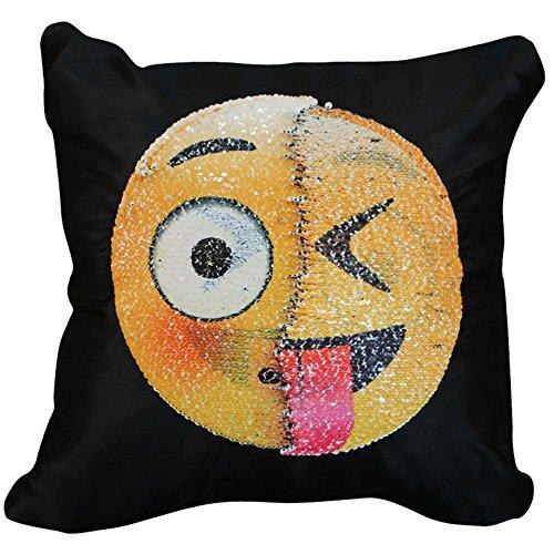 Sonicee, federa copricuscino reversibile, con paillettes, con simboli emoji, complemento d'arredo per la casa, da divano, rasatello, #4