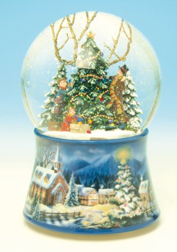 Spieluhrenwelt 48083 - Decorative figure of snowball with Christmas trees
