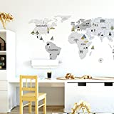 Wandtattoo Wandaufkleber Sticker Kinderzimmer 3D XXL Graue Weltkarte S - 100x50 cm Deko Natur Wandsticker Baby Mädchen Junge