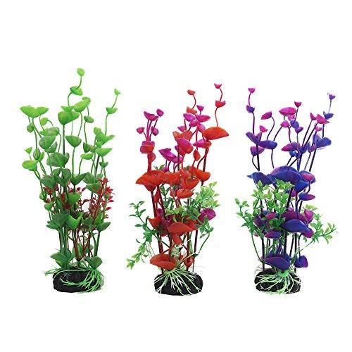 Vivifying Künstliche Aquarium-Pflanzen, 3 Stück 20cm Groß Plastik-Pflanze für Fisch-Tanks
