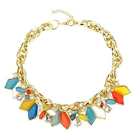 Honeyjoy Filles Multicolore géométrique Rhombus brillant Pendentif Collier