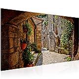 Bilder Gasse in Italien Wandbild Vlies - Leinwand Bild XXL Format Wandbilder Wohnzimmer Wohnung Deko Kunstdrucke Braun 1 Teilig - MADE IN GERMANY - Fertig zum Aufhängen 004812a