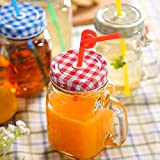 Glass Drinking Jar/Mug With Handle Set Of 2, Stainless Steel Lid, Stainless Steel Colored Lid, Colored Straws, Regular Mouth, Dishwasher Safe, BPA Free