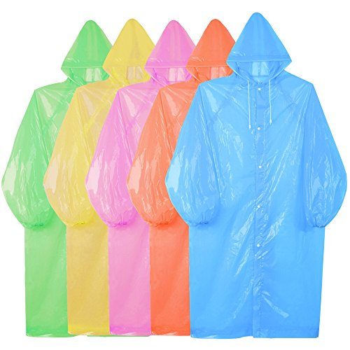 SOUMIT 5 Pieces of Portable Waterproof Rain Coat, Emergency Rainwear with Sleeves and Hat Cap, Perfect for Festivals, Travel, Camping & Theme Parks (Women & Men)