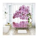 LOUMVE Polyester Blume Anti-Schimmel Duschvorhang Für Badezimmer mit Duschvorhangringe Antibakteriell Wasserdicht Mildewproof Badvorhang Badezimmer Duschvorhang 120 x 180 cm
