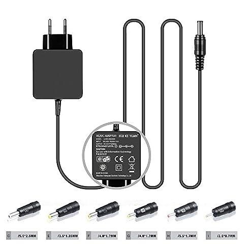 [TUV GS LISTED] HUIKEYUAN 9V 2A Universal Netzteil Ladegerät AC Adapter Ladekabel für VTech-Lerncomputer, DVD Spieler, Lautsprecher-Audio-Dock, WLAN router, HDD, Digitaler Fotorahmen, Medela Pump in Style, Android-Tablet-PC, mit 6 Steckverbinder (2,5*0,7mm/3,5*1,35mm/4,0*1,7mm/4,8*1,7mm/5,5*1,7mm/5,5*2,5mm)