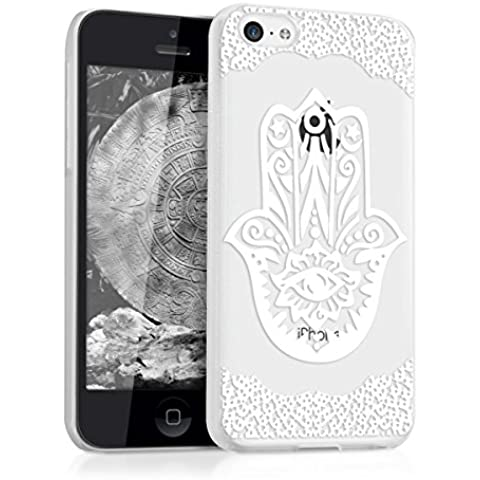 kwmobile Elegante y ligera funda Crystal Case Diseño mano de fátima para Apple iPhone 5C en blanco