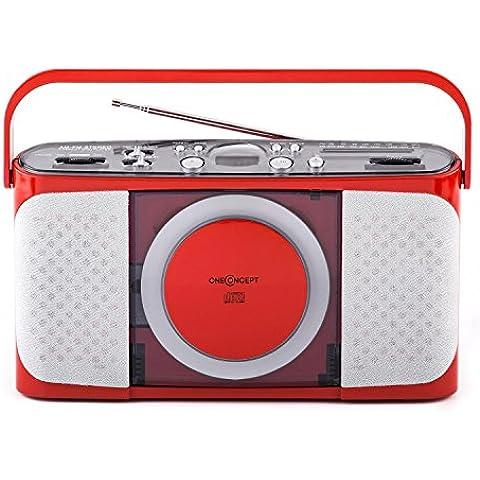 oneConcept Boomtown-Girl boombox radio portatile (lettore CD,sintonizzatore radio AM/FM, possibilità di funzionamento a batterie) - rosso