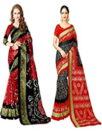 Glory Sarees Women's Bhagalpuri Art Silk Bandhani Saree Combo Pack Of 2(bandhani28&32_red_black_multi)