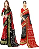 Glory Sarees Art Silk With Blouse Piece (Pack of 2) (bandhani28&32_Red and Black_Free Size)