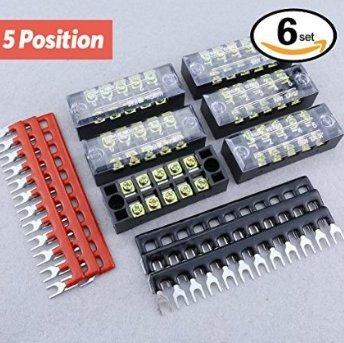 hilitchi 12600V 15A double rangée 5positions Borne à vis bande et 400V 10A 12Postions Pré Isolé Terminal Barrière bande rouge/noir