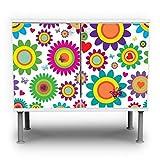 banjado - Badunterschrank 60x55x35cm Design Waschbeckenunterschrank mit Motiv Bunte Kreise