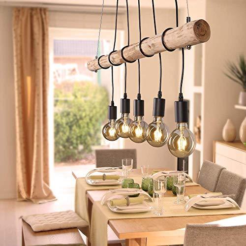 Pendel-Leuchte Deckenleuchte Echtholz inklusive 5x E27 LED Leuchtmittel warmweiß, rustikale Landhaus Leuchte, Ast-Lampe Hänge-Lampe 5-flammig (Edison Lampe Leuchte)