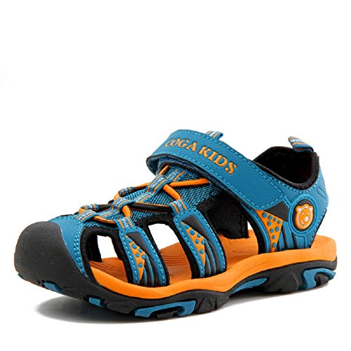 Sandalen Geschlossen Outdoor Wasserfest Strand Sommer Schuhe Atmungsaktiv Trekking Kinder Jungen Klettverschluss Blau 38 (Jungen Clog-sandalen)