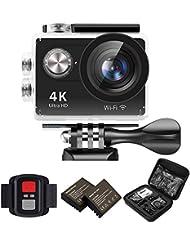 IXROAD Action Kamera 4K Ultra HD 12MP (Action Cam 2 Zoll Display WiFi) 170° Weitwinkel Helmkamera Unterwasserkamera Sportkamera mit Fernbedienung, 2 Akkus, Wasserdichtes Gehäuse, Zubehör Set (Schwarz)