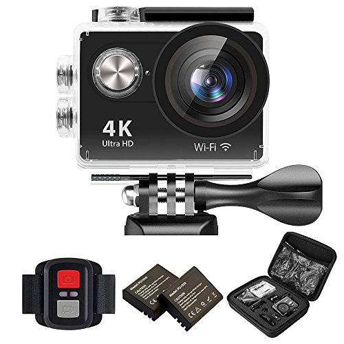 IXROAD Action Kamera 4K Ultra HD 12MP (Action Cam 2 Zoll Display WiFi) 170° Weitwinkel Helmkamera Unterwasserkamera Sportkamera mit Fernbedienung, 2 Akkus, Wasserdichtes Gehäuse, Zubehör Set (Schwarz)