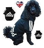 Adidog Kapuzenpullover für Hunde, sportliches Design, Größen S-8XL erhältlich, Schwarz oder Rot
