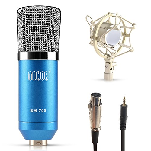 Tonor 3.5mm Estéreo de Micrófono de Condensador Cardiode para Radiodifusión Estudio de Grabación de Sonido con Soporte Antivibratorio Azul