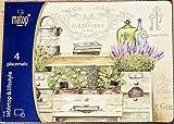 Home Collection - Arredamento, decorazione, tessile da cucina - set di 4 tovagliette americana - Motivo: giardino - Stile: vintage - Materiale: sughero - Colore: misto - 40 x 29 cm