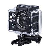 Action Cam, ASHATA Action Camera 1080P HD Sports Cam 140 ° Telecamera subacquea grandangolare, 2 pollici LCD 30M Impermeabile Camera Action Camera casco per immersioni Sci Bicicletta equitazione ecc.(nero)