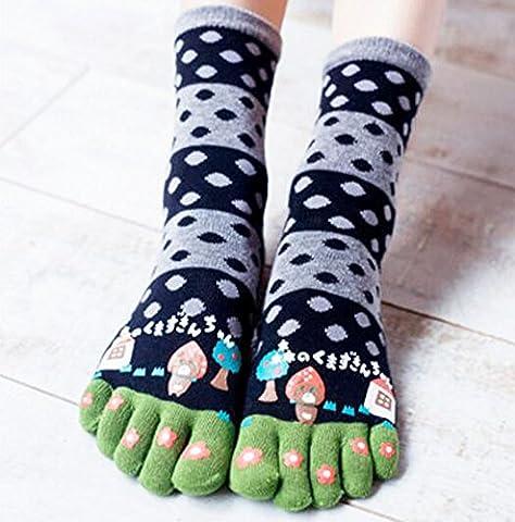 Doux Toe Cartoon Tube Socks Soft Black Cotton Accueil Chaussettes