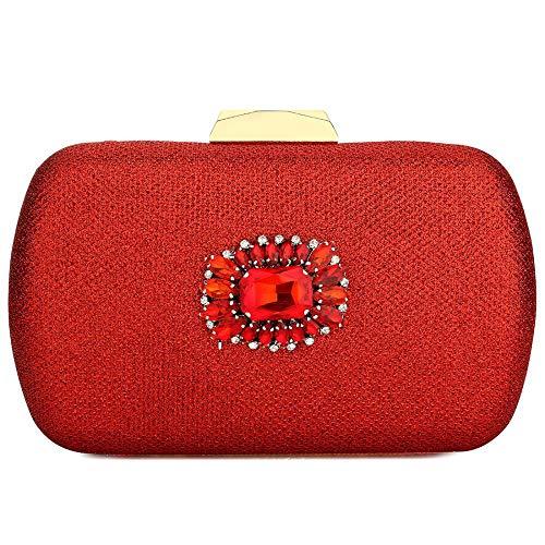 ZYXB Handtasche Frauen Silber Strass Mini Handtaschen Für Frauen Kristall Abend Party Taschen Clutche,red