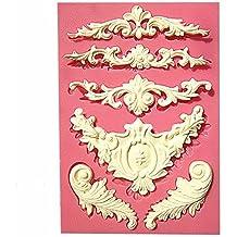 TaoNaisi Molde de encaje de flores de silicona esculpida Molde de pastel de Candy Jello 3D