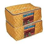 #5: Kuber Industries™ Extra Large Saree Cover/Wardrobe Organiser/Regular Clothes Bag Set Of 2 Pcs In Quilted Golden Satin Material (KU253)