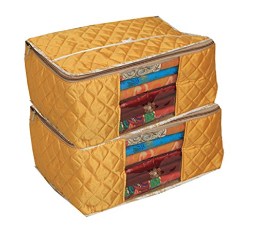 Kuber Industries Designer Large Saree Cover/Wardrobe Organiser/Regular Clothes Bag Set Of 2 Pcs In Quilted Golden Satin Material (Ku253)