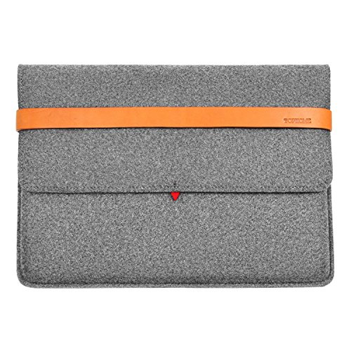 e Fashion Wollfilz Laptop Big Protector Tasche 15-15,4 Zoll für MacBook/MacBook Pro Sleeve Case Cover mit italienischem Echtem Dickem Leder Grau ()