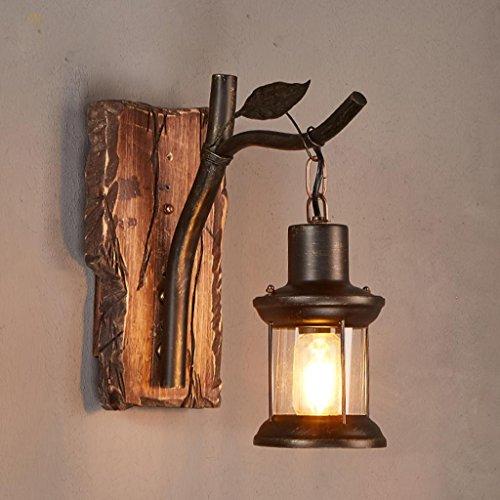 Nordic Rétro Style Industriel Applique Murale En Bois Massif Art Lampe Murale Chambre Lit Escaliers LOFT Éclairage Décoratif, Source de Lumière E27 * 1, Taille 15 * 30 cm